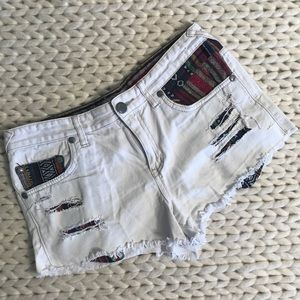 Free People Distressed Tribal Denim Shorts